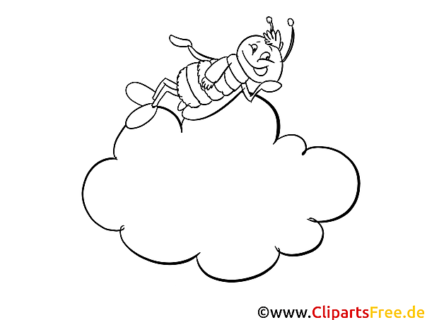 Wolke und Biene Malvorlage