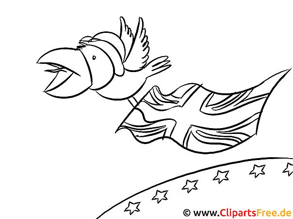 BREXIT Illustration schwarz-weiß, Politik Malvorlage