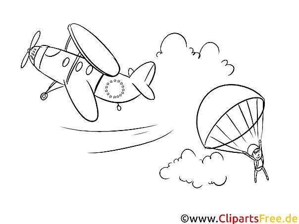 Fallschirmspringer Ausmalbild zum Ausdrucken, Bild gratis