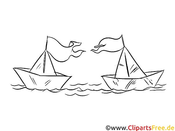 Papierschiffe im Wasser Bild, Ausmalbild, Malbild