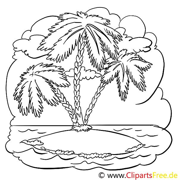 Insel mit Palmen Malvorlage kostenlos