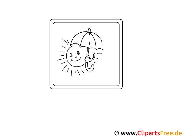 Sonne unter Schirm Kinder Malvorlagen
