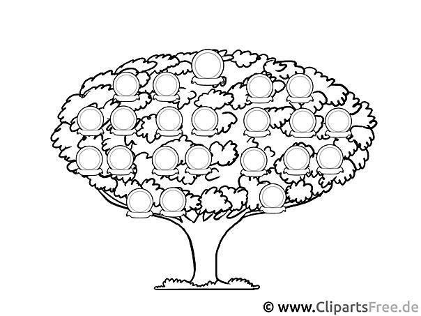 Stamm Baum Bild, Vorlage zum Drucken
