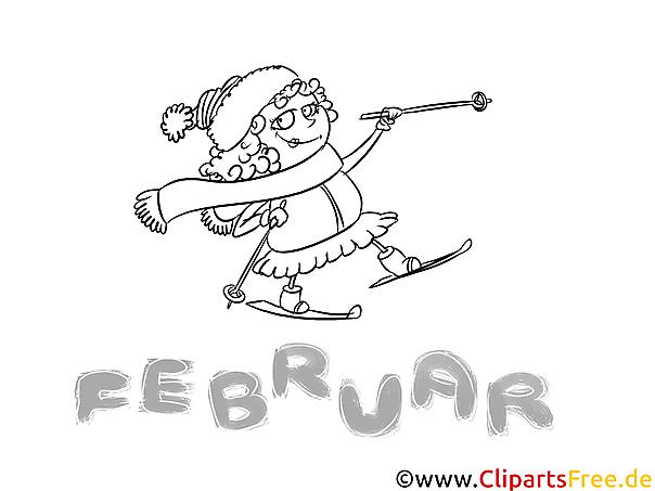 Februar Malbild - Ausmalbilder Monate, Jahreszeiten