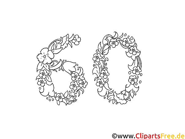 60 Jahre Geburtstag Blumenranken zum Ausmalen