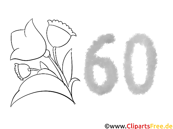 60 Jahre Geburtstagseinladung selbst ausmalen