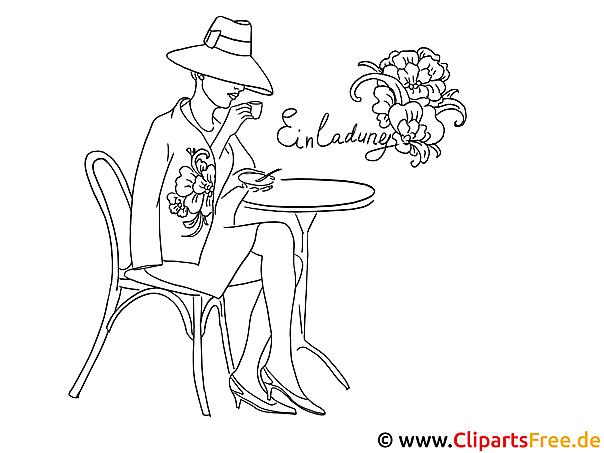 Dame in Cafe Malvorlage zum Ausmalen