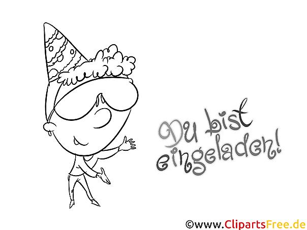 Einladen Malvorlage zum Geburtstag