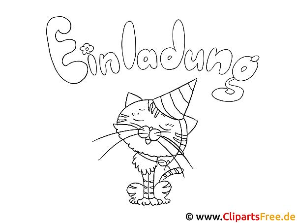 Fasching Katze Malbild