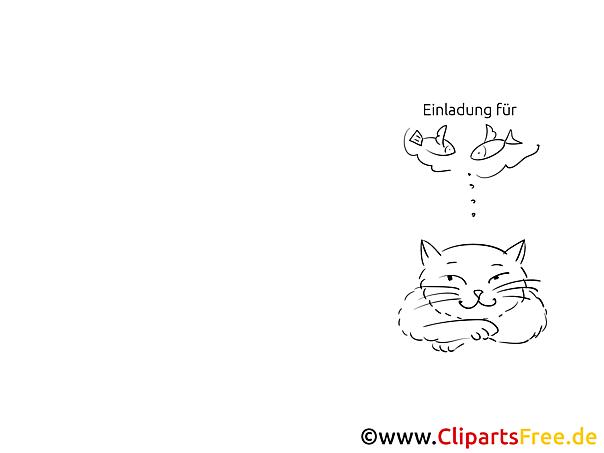 Fische Katze Klappkarte-Einladung gratis basteln