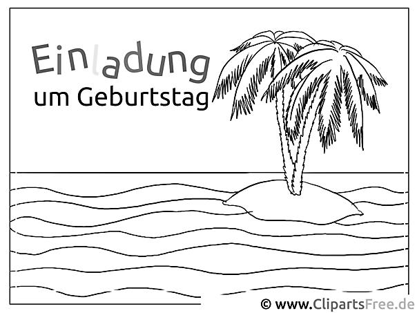 Insel Im Meer Mit Palmen Zum Ausmalen
