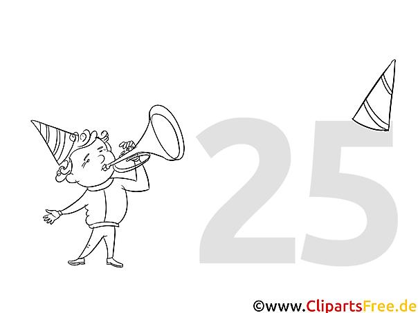 Junge spielt Trompete Malvorlage Musik