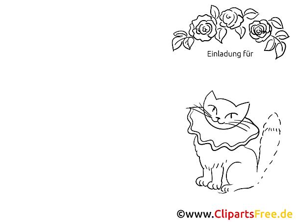 Katze Klappkarte-Einladung gratis basteln