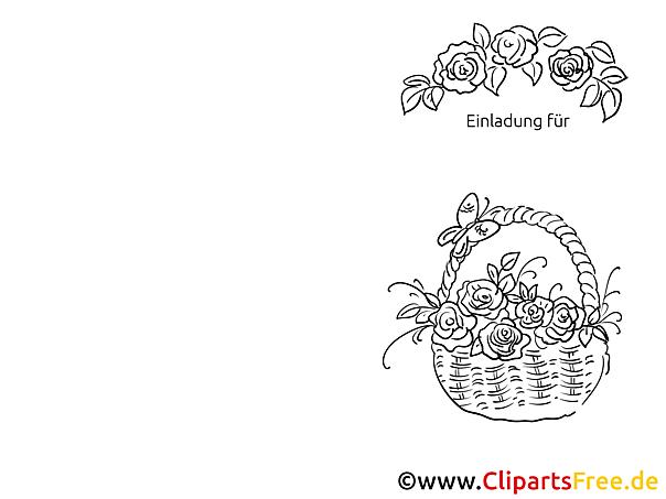Korb Blumen Einladungen selbst gestalten und drucken
