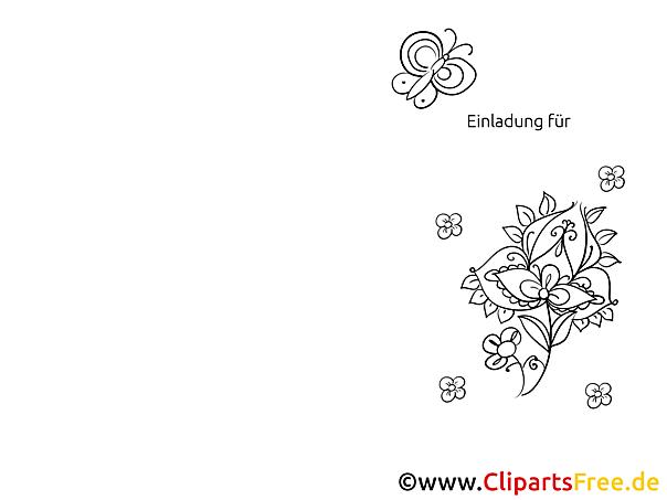 Schmetterling Blume Einladungen selbst gestalten und drucken