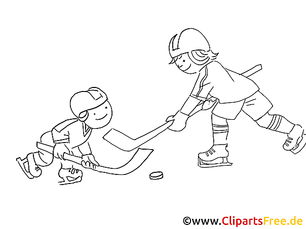Kinder spielen Eishockey Malvorlage Winter-Sport
