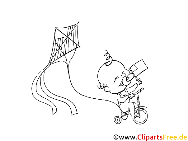Baby am Fahrrad mit Drachen Ausmalbild