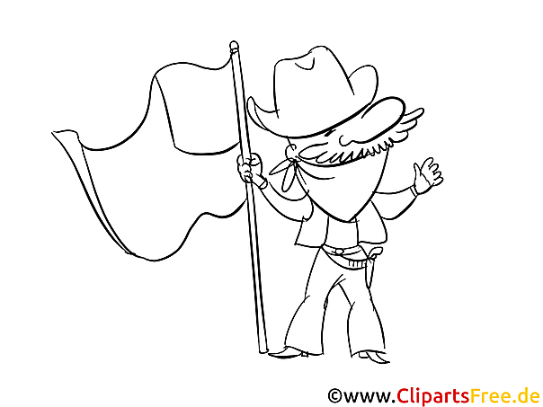Cartoon Cowboy - Fourth of July and USA Coloring Pages