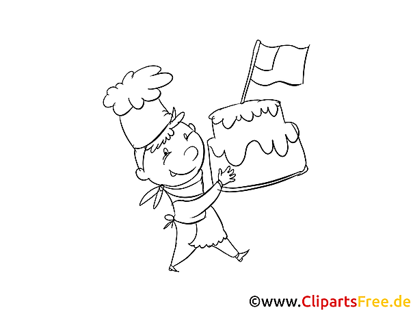 Kleiner Koch mit Torte - Vorlagen zum Ausmalen und ...