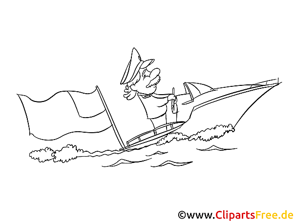 Motor boat - July 4th Coloring Pages