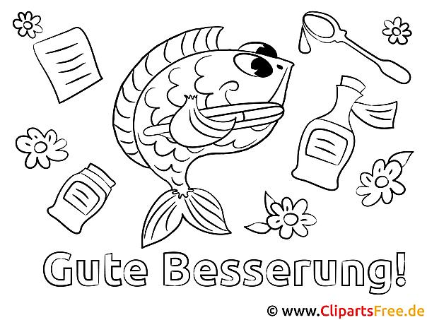 Fisch Gute Besserung Ausmalbilder gratis für Kinder