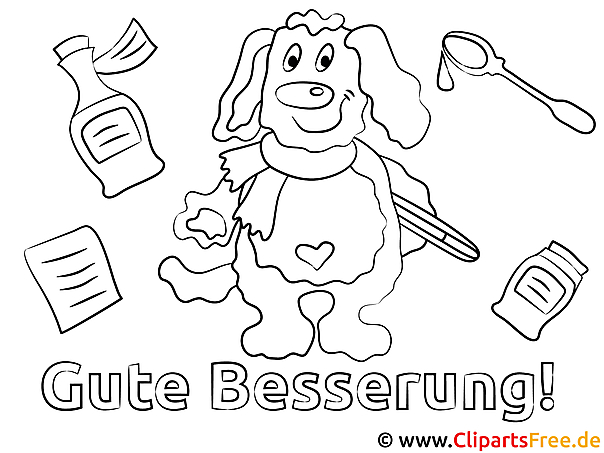 Hund Gute Besserung Malvorlagen kostenlos für Jung und Alt
