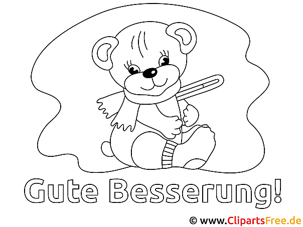 Teddybär Gute Besserung Bild zum Ausmalen