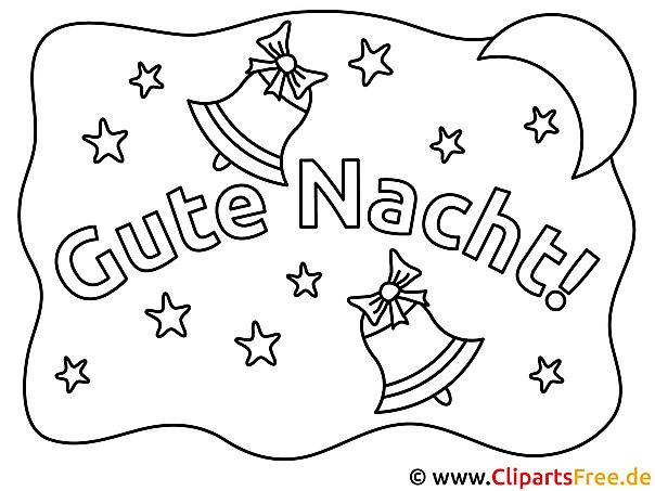 Glocken Gute Nacht Ausmalbild für Kinder kostenlos ausdrucken