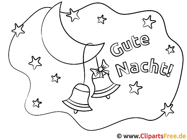 Glocken hängen auf dem Mond Gute Nacht gratis Bilder zum Ausmalen