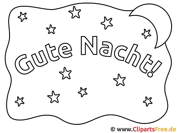 Karte Gute Nacht Ausmalbilder kostenlos