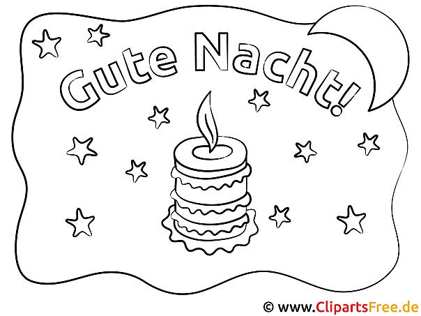 Kerze Gute Nacht Ausmalbild für Kinder kostenlos ausdrucken