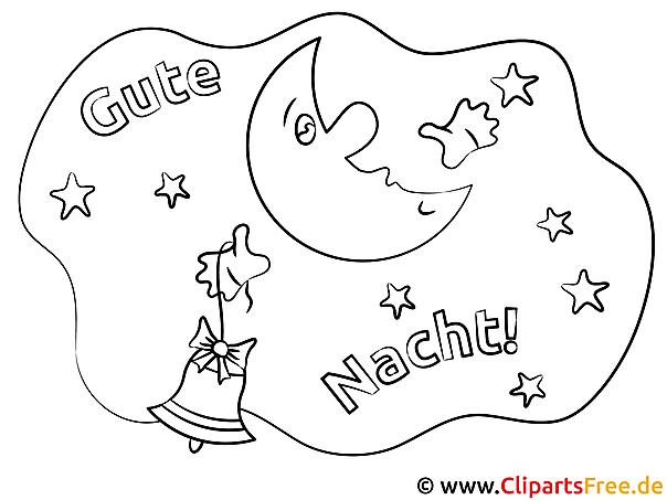 Mond Glocke Gute Nacht Ausmalbilder für Kinder kostenlos ausdrucken