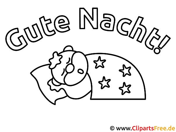 Schlaf Gute Nacht kostenlose Ausmalbilder