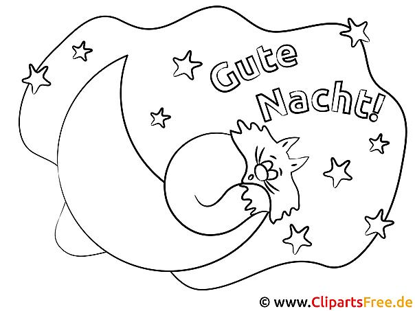 Schlafen auf dem Mond Gute Nacht Ausmalbilder kostenlos
