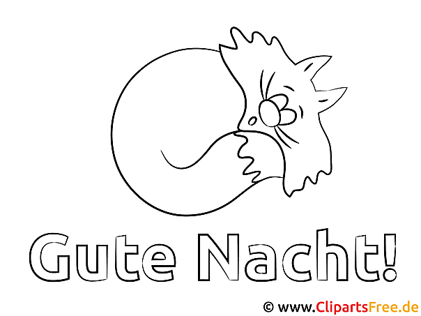 Schlafen Gute Nacht Ausmalbild für Kinder kostenlos ausdrucken