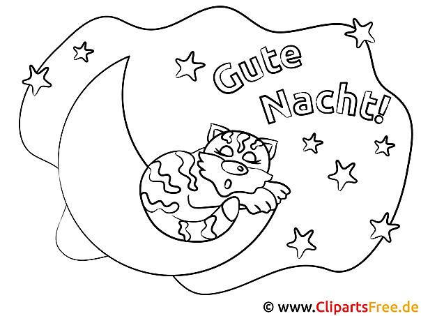 Schlafende Katze auf dem Mond Gute Nacht Ausmalbilder kostenlos