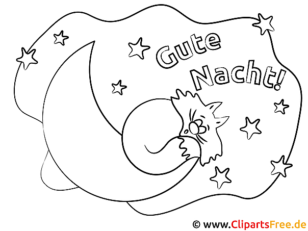 Schlafende Tiere auf dem Mond Gute Nacht Ausmalbilder kostenlos