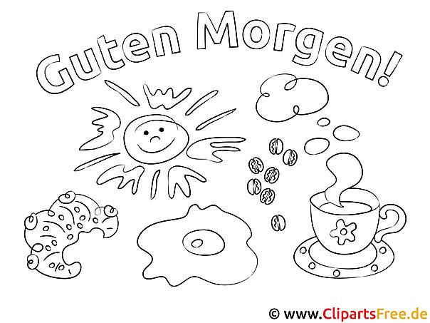 Kaffee Frühstück Guten Morgen Ausmalbild für Kinder kostenlos ausdrucken