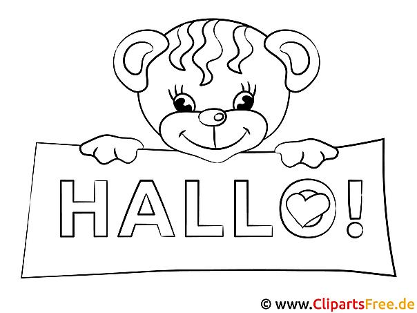 Hallo Ausmalbilder gratis für Kinder