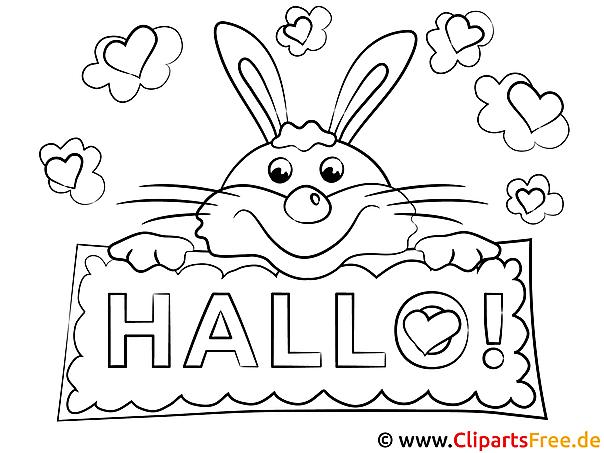 Hase Hallo Ausmalbilder für Kinder kostenlos ausdrucken