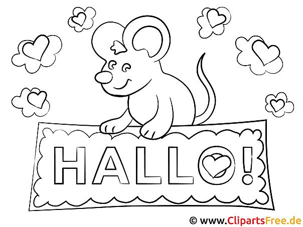 Maus Hallo Ausmalbilder für Kinder kostenlos ausdrucken