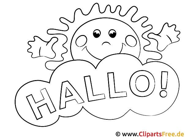 Sonne Hallo Ausmalbilder gratis für Kinder