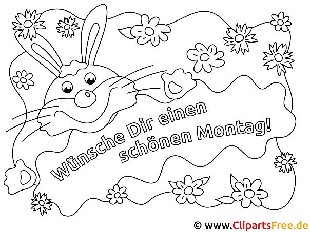 Hase Schönen Montag Ausmalbilder für Kinder kostenlos ausdrucken