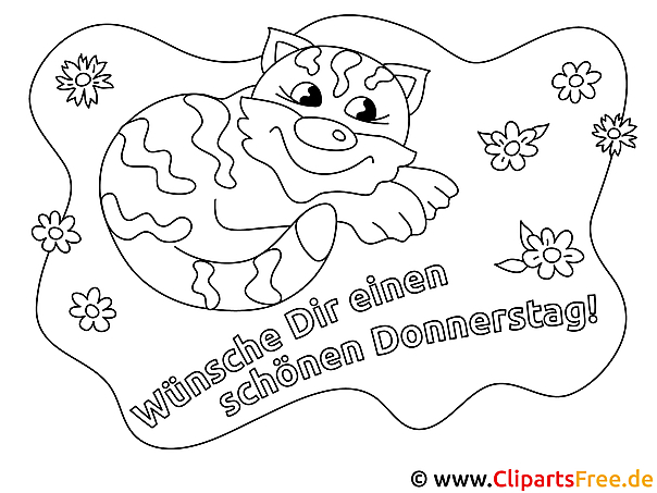 Katze Schönen Donnerstag Ausmalbilder für Kinder kostenlos ausdrucken