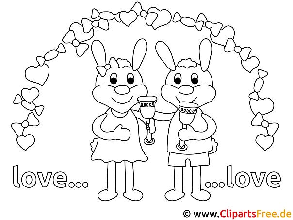 Verlobte Tiere Ausmalbild für Kinder kostenlos ausdrucken