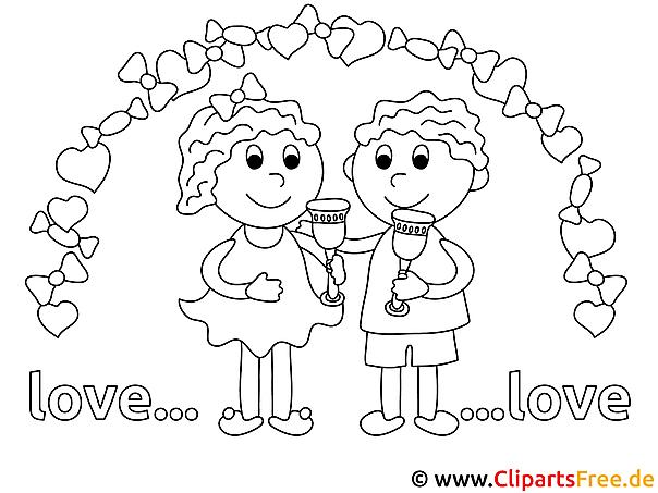 Verlobtes Paar Ausmalbild für Kinder kostenlos ausdrucken