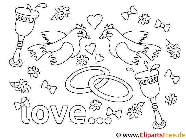 Verlobung Ausmalbild für Kinder kostenlos ausdrucken