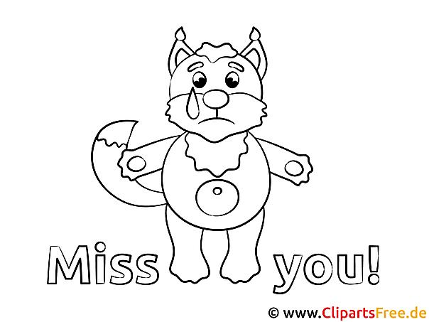 Fuchs Vermisse dich Ausmalbild gratis