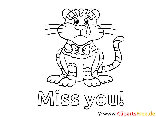 Tiger Vermisse dich Ausmalbilder kostenlos