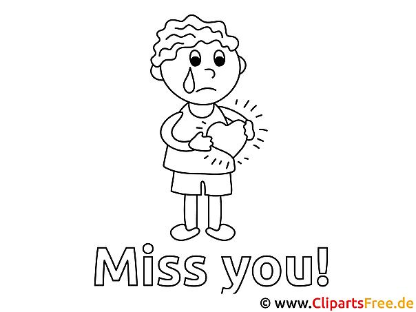 Trauriger Junge Vermisse dich Malvorlage